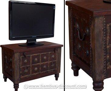 TV Kolonialmöbel als Fernsehtisch mit 50x70x40cm - Massivholzmöbel, Kolonialmöbel, Möbel im Kolonialstil (Beispiel: Sitzmöbel im Kolonialstil), Kolonialmöbelstück