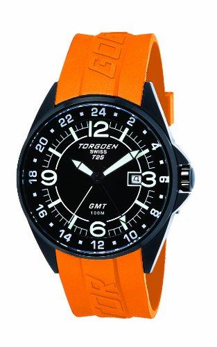 Torgoen - T25302 - Montre Homme - Quartz Analogique - Cadran Noir - Bracelet Plastique Orange