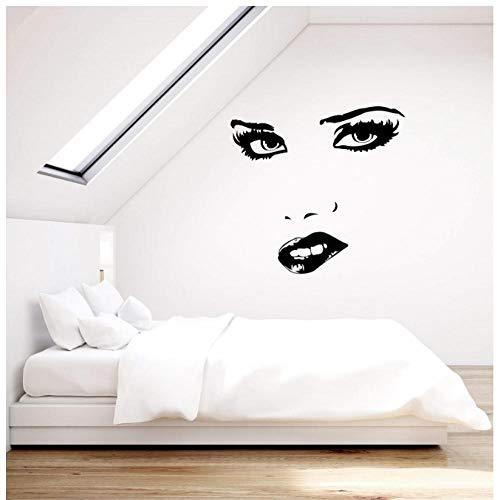 NKJBUVT Vinylwand Applique Reizvolles Frauengesicht Mustert Lippenhauptschlafzimmer-Dekorationswandgemälde 44 * 42Cm