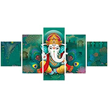 eCraftIndia 'Lord Ganesha' Painting (Canvas Print, 127 cm x 60.96 cm, Set of 5, CPGKB59070)