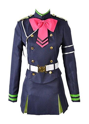 Cosplayfly Seraph der Ende Shinoa Hiragi Militär Uniform mit Umhang Cosplay Kostüm Blau