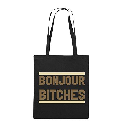 Comedy Bags - Bonjour Bitches - Jutebeutel - lange Henkel - 38x42cm - Farbe: Schwarz / Weiss-Hellblau Schwarz / Hellbraun-Beige