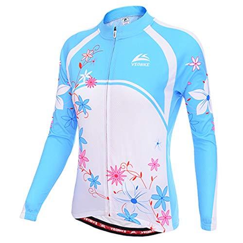 SonMo Damen Radtrikot Jersey Mountain Biking Anzug Fahrradkleidung Fahrrad Trikot Reitanzug Sportbekleidung Fahrradshirts Fahrradanzug Langarm Frühling und Herbst Blau Rosa M