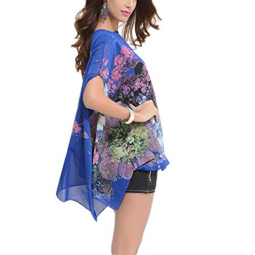 WintCO Veste Demoiselle Occidentale Modèle Fashion T-shirt Vague Imprimée en Chanvre Taille Unique Veste Casual Travail Voyage 6 Couleurs Bleu