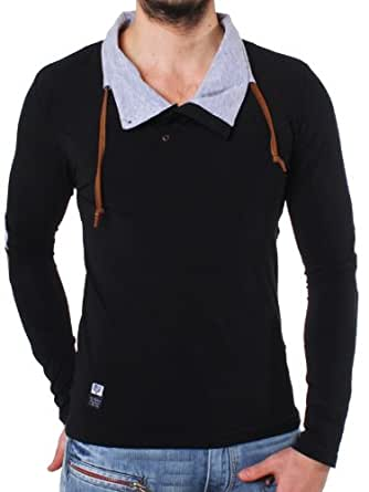 Carisma Longsleeve Shirt Sweatshirt black for men 3044 slimfit, grösse:xl