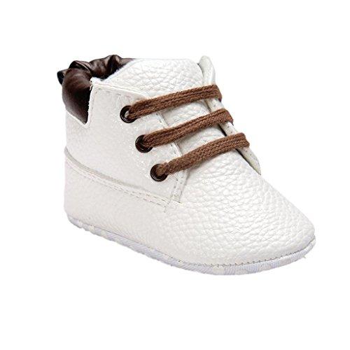 Koly_Scarpe in pelle molle del bambino Sole Bambino sveglio Shoes (Size:11=Age:0~6M, bianca1)