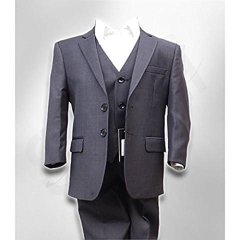 SIRRI Italian Cut Boys Charcoal Grey Suit, Page Boy Wedding Prom Dinner Boys Suit in Charcoal Gray