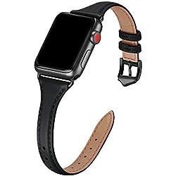 WFEAGL Compatible pour Bracelet Watch 42mm 44mm, Bracelet de Rechange Sport en Cuir Multicolore pour Watch Série 5/4/3/2/1, Femme, Homme (42mm, 44mm,Slim Noir+Noir Adapter)