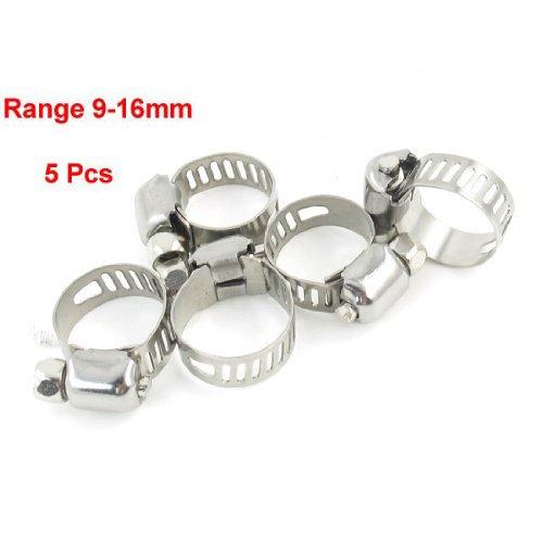 Sonline 5 x Abrazadera Clip para Tubo Manguera Metalico Plateado 9mm a 16mm