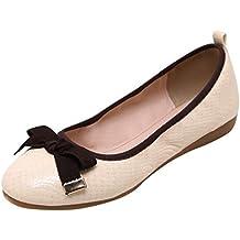 Baymate Bailarinas Mujer Puntera Redonda Comodidad Plegable Zapatos Piso Bowknot Decoración