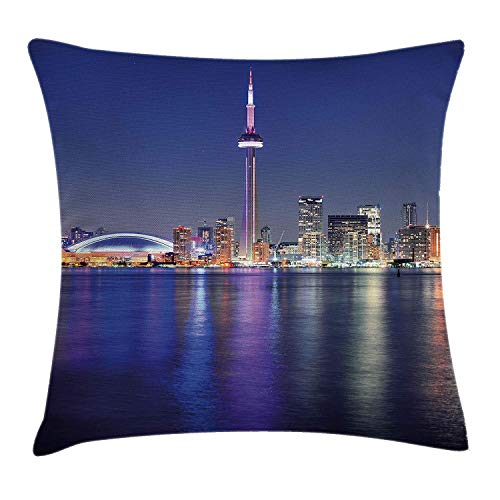 Funny Club Blue Throw Pillow Cushion Cover, Canada Toronto Sunset Over The Lake Panorama Urban City Skyline with Night Lights, Decorative Square Accent Pillow Case, 18 X 18 inches, Blue Pink Peach