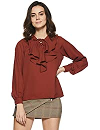 Miss Chase Womens Maroon Ruffled Top