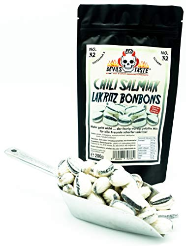Chili Salmiak Lakritz Bonbon mit Füllung - scharf - 200g - Hotskala: 5