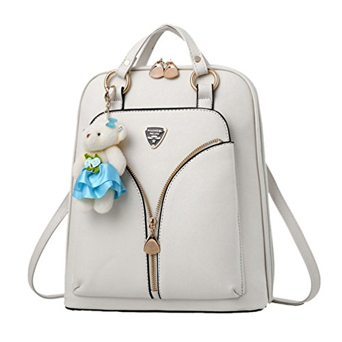 Sentao Damen Mädchen Casual Rucksäcke Schulrucksäcke Schultaschen Freizeitrucksack Weiß