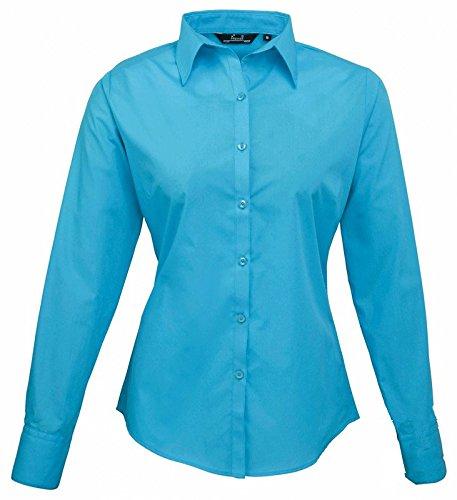 Ladies Poplin Long Sleeve Shirt (Damenbluse/Langarm) Turquoise