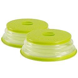 OUCHAN Faltbare Mikrowellenabdeckhaube mit Sieb für Obst und Gemüse, BAP-frei und ungiftig (Green x 2)