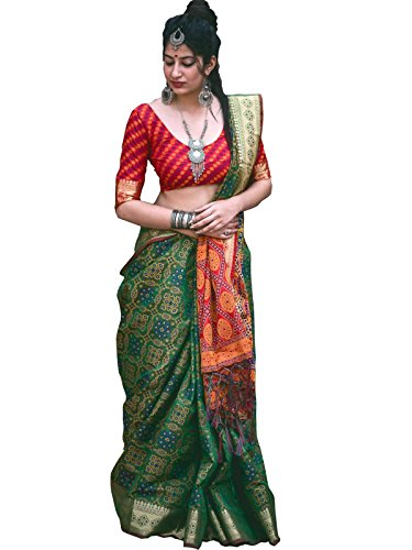 Rozdeal Green And Red Colored Silk Patola Saree