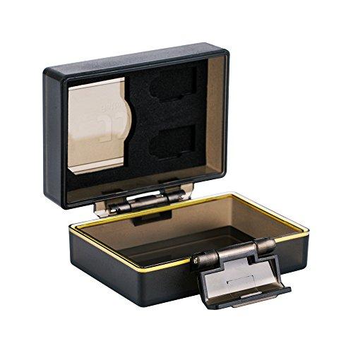 JJC Multifunktions Batteriegehäuse Kamera Akku Schutzbox und Speicher Fall Passend für Canon LP-E6, LP-E6N, JJC B-LPE6 und 1 x SD, 2 Mikro-SD-Karten