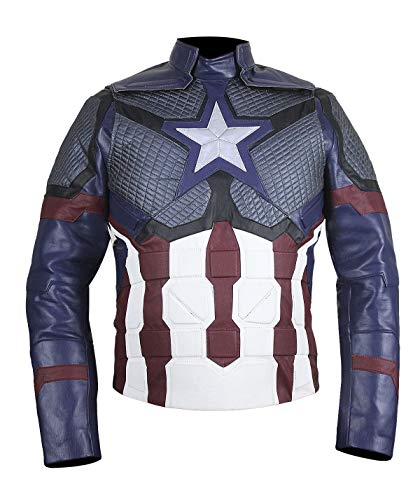 Kostüm Chris Captain America Evans - Fashion_First Herren Captain Kostüm Biker Jacke für Endgame Cosplay Gr. XX-Small, D1 Captain America Endgame Jacket Real Leather