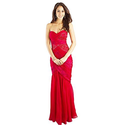GEORGE BRIDE Rot Chiffon Trompete / Meerjungfrau traegerloses bodenlangen Abendkleid ,Groesse 48,ROT (Kleid Bodenlangen Trompete)