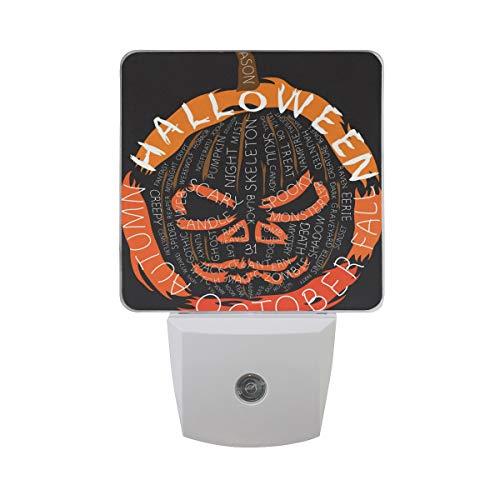 Nachtlicht Halloween-Wörter Komposition 2 Stück Licht UK-Stecker 0,5 W Sensor Automatik Öffnen Schließen Personalisiert