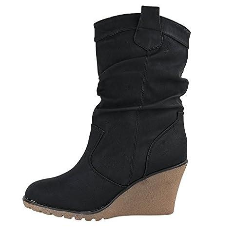 Damen Stiefel leicht gefüttert Stiefeletten Keilabsatz Boots ST188 Schlupfstiefel High Heels (39, (Keilabsatz Schwarz)