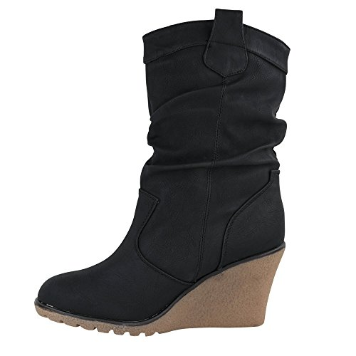 Damen Stiefel Leicht gefüttert Stiefeletten Keilabsatz Boots ST188 Schlupfstiefel High Heels (37, Schwarz)