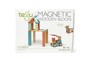 Tegu - Juego de Bloques de Construcción de madera magnéticos de 42 piezas - Puesta de Sol