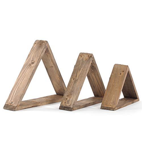 Set di 3 mensole triangolari da parete, in legno riciclato, 3 misure, design shabby