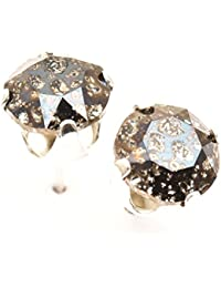 pewterhooter 925 Sterling Silver stud earrings expertly made with Black Patina (clear grey) crystal from SWAROVSKI® for Women