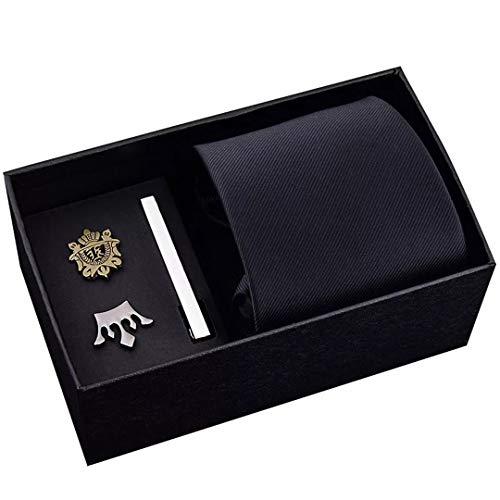 LINJIFE Männer Krawatten Set Größe 48 Cm * 8 Cm Krawatte Und Schild Crown Brosche Krawattenklammer Reißverschluss Krawatte Anzug Geschenk Box 1 -