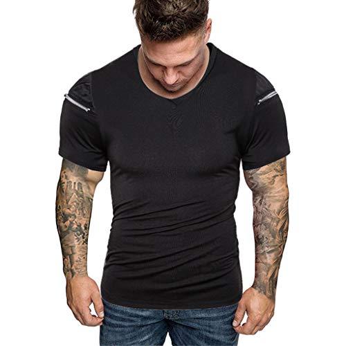 UINGKID Herren T-Shirt, Rundhals-Ausschnitt Slim Fit Männer Reißverschluss Reine Farbepleißen Muster Lässige Mode Revers Kurzarmhirt (Kürbis Ninja Turtle)