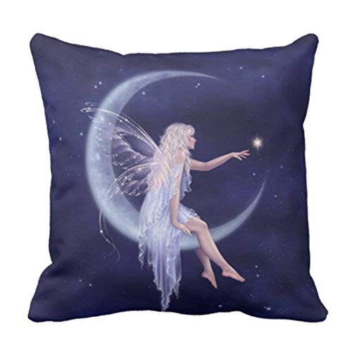 Throw Pillow Cover Fantasy Birth of Star Moon Fairy Navy Blue Night Decorative Home Decor Square 18 x 18 Inch Pillowcase
