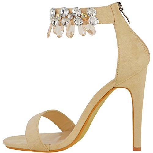 Donna Barely There tacco alto gemma strass sandalo con cinturino alla Caviglia Scarpe Numeri Pelle Camoscio Sintetico