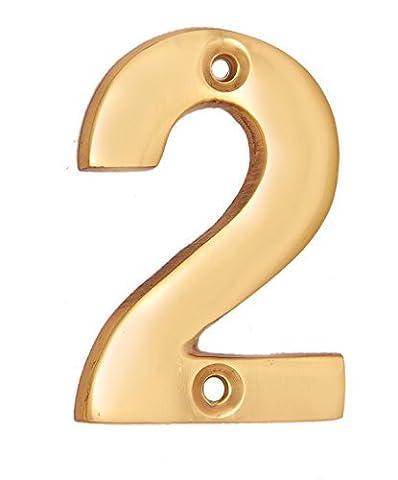 "Adonai Hardware 2"" Broad Brass Numeral ""2"""