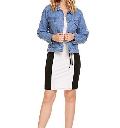 ACEVOG Damen Knielang Etui Kleid O-Ausschnitt Halbarm Bodycon Kleid mit Gürtel Farbblock-Kleid (Kontrast Bodycon Kleid)