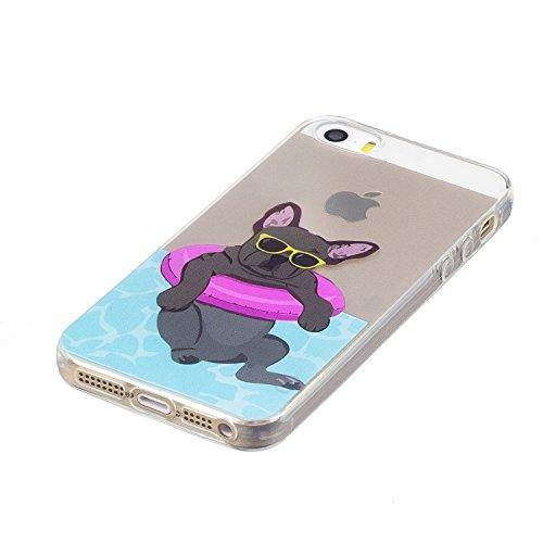 iPhone 5S / iPhone SE Hülle, Voguecase Silikon Schutzhülle / Case / Cover / Hülle / TPU Gel Skin für Apple iPhone 5 5G 5S SE(Aquarell 12) + Gratis Universal Eingabestift Bulldogge 01
