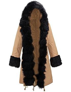 La Mujer Invierno Casual Faux Fur Forrado Con Capucha Espesar Suelto Caliente Abajo Chaqueta De Parkas Capa Externa