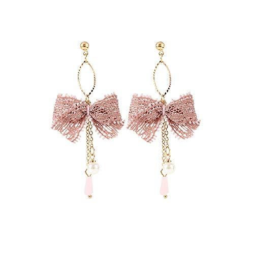Lovinda Mädchen Frauen Vergoldet Exquisite Ohrringe Rosa Spitze Bogen Ohrringe Schmuck Geburtstagsgeschenk Mädchen Geschenk x 1 para