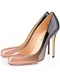 32ddee48 Caitlin Pan Mujeres Stiletto Heels Punta Redonda Slip On 10CM Bombas de  tacón Alto Sexy para Zapatos de la…