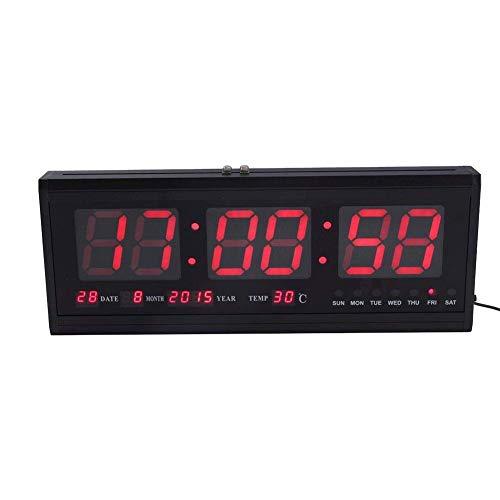 Reloj digital ZJchao, grande, con luz LED, para pared o escritorio, indica la temperatura y tiene calendario...