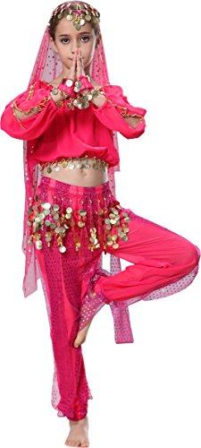 Arabische Bauchtanz Kostüme (Karneval Kinder Mädchen Langarm Bauchtanz Kostüm)