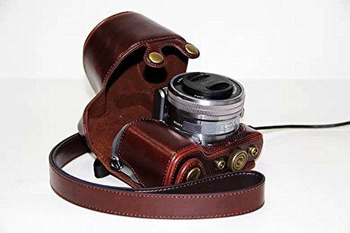 PU Leder Kamera Tasche Schutz Tasche für Sony Alpha NEX 5, NEX-5C, NEX-5N, NEX-5R (18-55mm) Digitale Kamera (dunkelbraun)