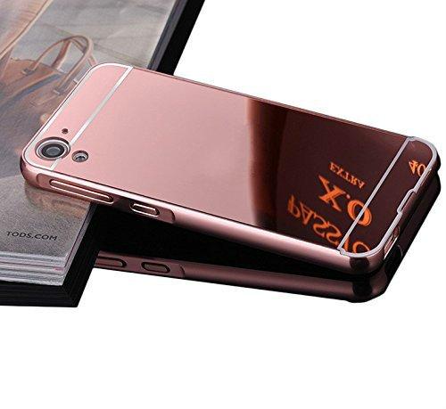 Vandot Duro Híbrido Carcasa para HTC Desire 626 626G Premium Bumper Case del Metal Aluminio + PC Ultrafina Espejo Protective Dura Caso y la Cubierta Piel -Oro Rosa