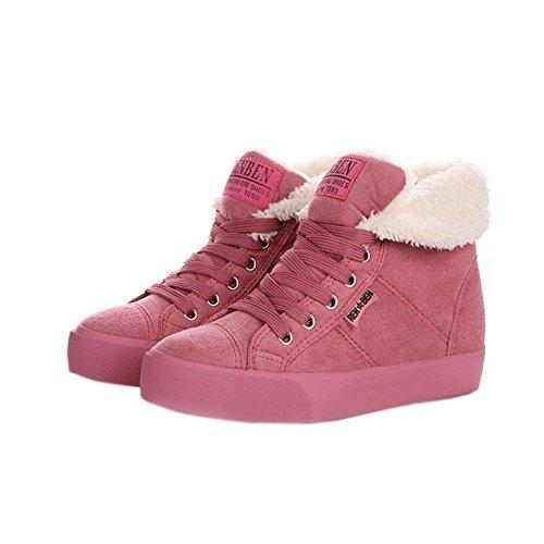Minetom Donna Lace Up Neve Stivali Autunno Inverno Calzature Female Moda Flats Scarpe Cavaliere Stivaletti Pink