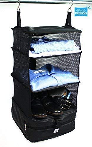 Grand Fusion Housewares Organizador de Maletas con Sistema de Equipaje portátil (estantes de Viaje Colgantes y Organizador de Cubos de Embalaje) Pequeña Negro