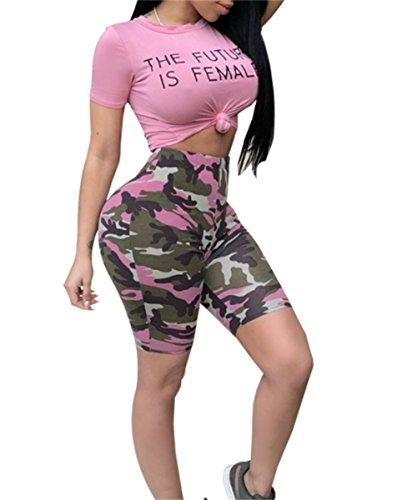 Molisry Women's 2 Piece Outfits Rompers Tracksuits Letter Print Crop Top Short Pants Set Sportwear