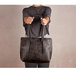 Graue Ledertasche, Umhängetasche, handgefertigte Tasche