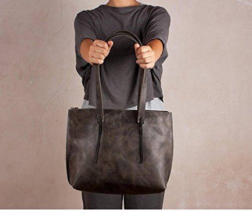 Gray leather bag, shoulder bag, handmade bag