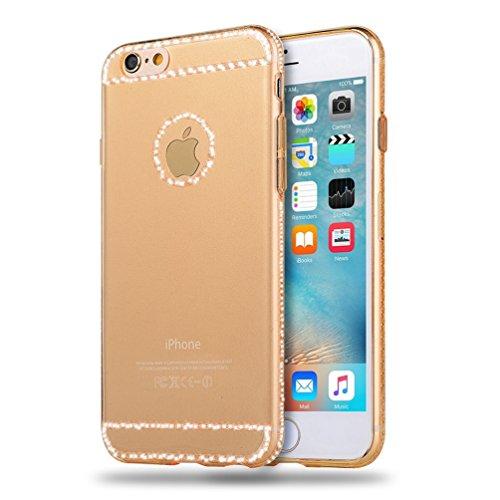 iPhone 7case-Ticase cover per Apple iPhone 7(2016) 11,9cm ultra sottile morbido silicone flessibile di glitter trasparente della protezione della pelle per iPhone 711,9cm, Gold, i